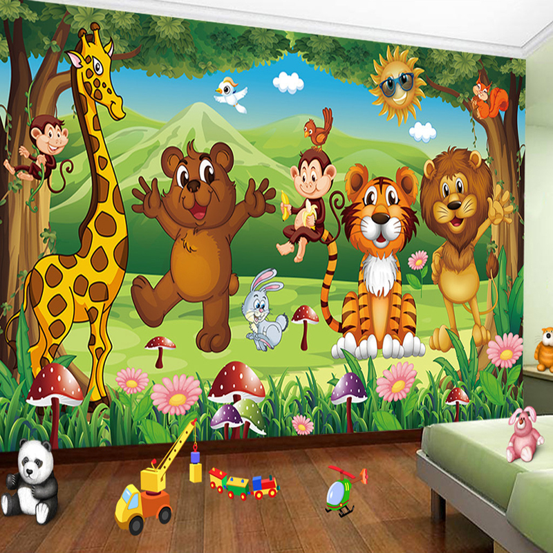 Custom 3D Photo Mural Wallpaper For Kids Room Animal Paradise Cartoon Children House Mural Non-woven Bedroom Wallpaper Painting