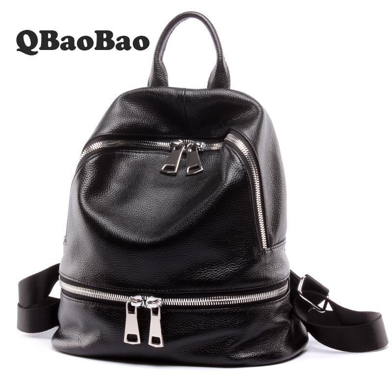 TOP GRATE Women Leather Backpack Cowhide Genuine Leather Female Back New School Bag Girl Small Backpack new 2016 women backpack genuine leather fashion bag backpack women leisure college wind cowhide backpack girl school