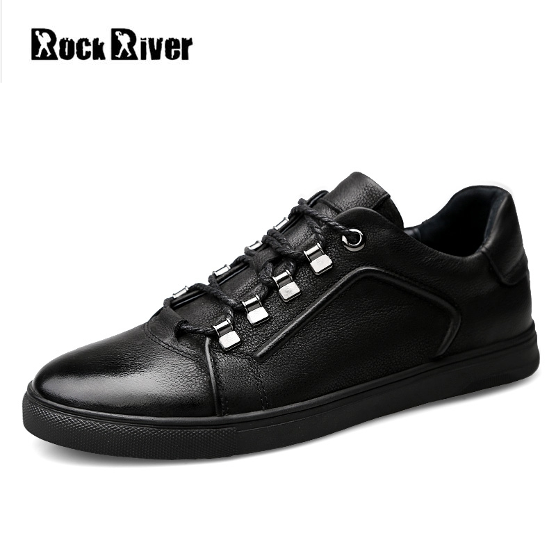 2018 New 100% Genuine Leather Shoes Men Black Mens Shoes Casual Luxury Sneakers Leather Shoes Men Flats Big Size 38-46