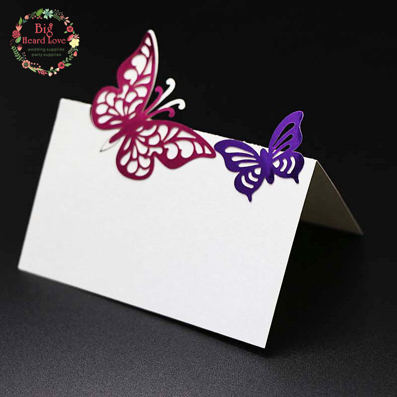 Big Heard Love 40pcs Butterfly Laser Cut Wedding Party Table Name Place Cards Favor Decor Event Party Supplies Wedding Supplies