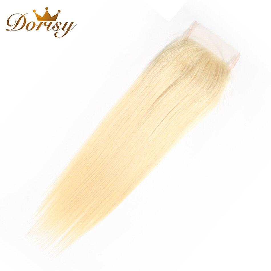 Dorisy Hair 1 Pcs 10-20 Inch 4*4 Swiss Lace Remy Hair Extension 100% Human Hair Peruvian Straight Lace Closure 613 Blonde