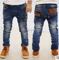 Cool Fashion jeans para meninos crianças calças de brim jeans meninos cintura elástica trajes para crianças disfraz infantil B0072