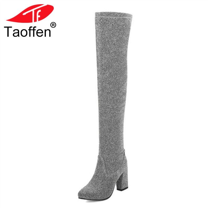 TAOFFEN Size 32-43 Women Over Knee Boots Thick Heels Winter Long Boots Fur Shine Woman Shoes Fashion Warm High Heels Boots цена