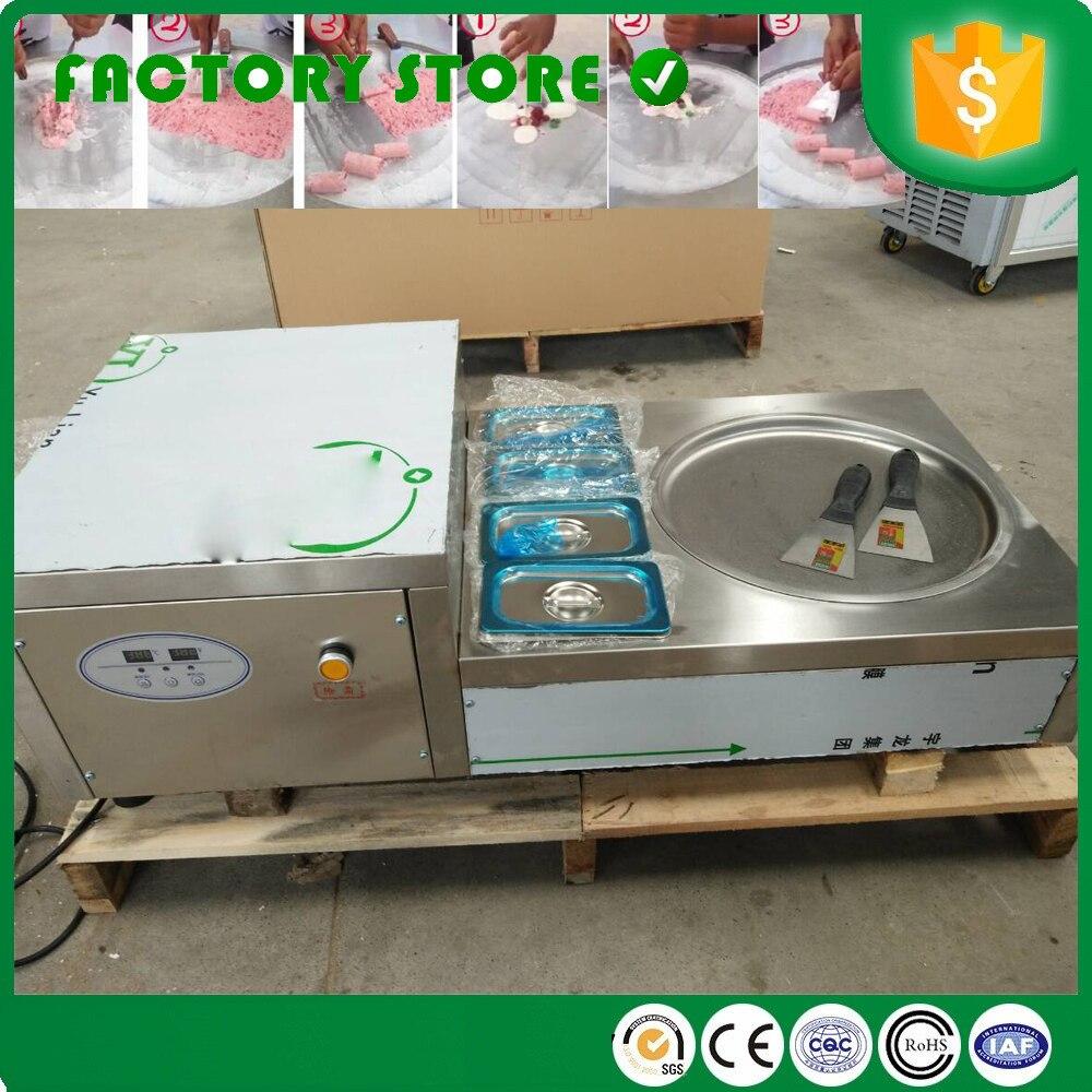 Type de bureau petite conception R404A réfrigérant simple poêle ronde frite crème glacée friture rouleau Machine avec réservoirs de fruits