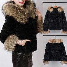 Этель Anderson Женское пальто из натурального кроличьего меха с капюшоном из натурального меха енота, капюшон с отделкой из меха енота