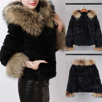 Ethel Anderson Women's Real Rabbit Fur Coat Real Fur Hoodie Raccoon Fur Hood Trim Raccoon Fur Cuffs Cute