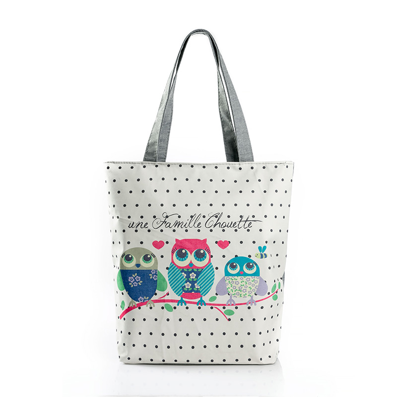 Naivety Bag Owl Printed Canvas Tote Portable Shopping Bags Bolso De Compras Zipper Handbags