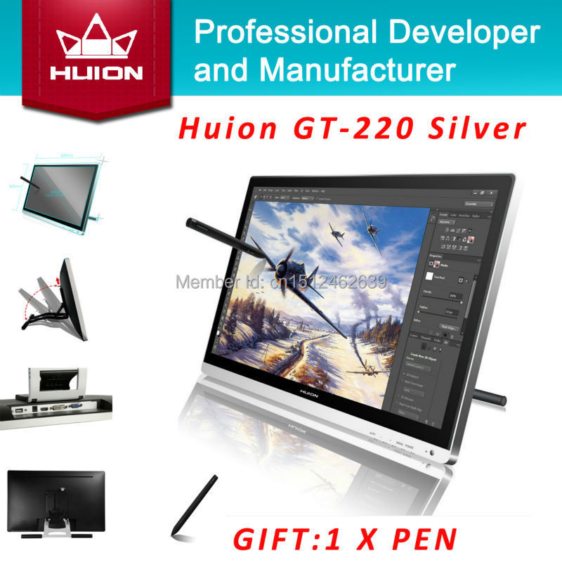 Huion GT-220 21,5 zoll IPS HD LCD-Monitor touchscreen Monitore Interactive Pen display...