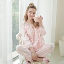 Free Shipping Long-Sleeve Cotton Women's Pajamas Sets Female Sleepwear Sweet Princess Pajama 2 Piece Set Lounge Home Clothes