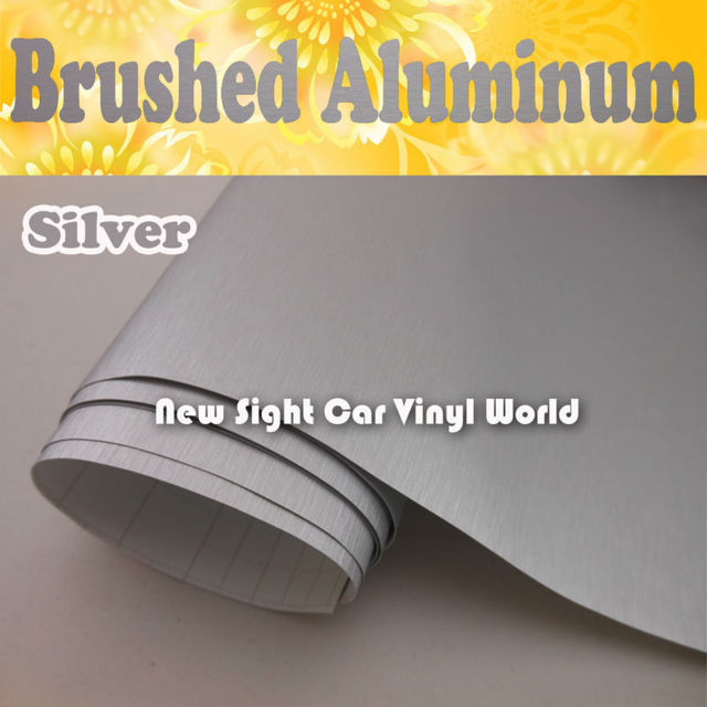 High Quality Silver Brushed Aluminum Vinyl Film For Car Stickers With Air Bubble Free Size: 1.52*30M/Roll