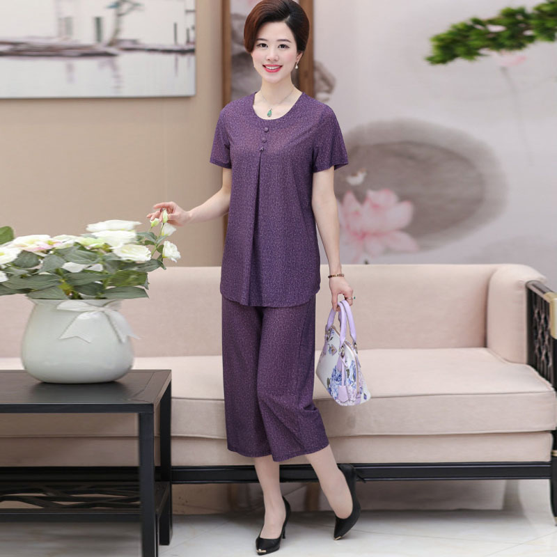 Medium and old age summer wear pure colour short sleeved suit to suit two pieces of the suit   PB168030-9422