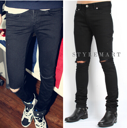 ФОТО 2015 Unisex Fashion Slim Straight Designer Denim Jeans Plus Size M-4XL Men's Holes Distrressed Black Ripped Skinny Jean Pants