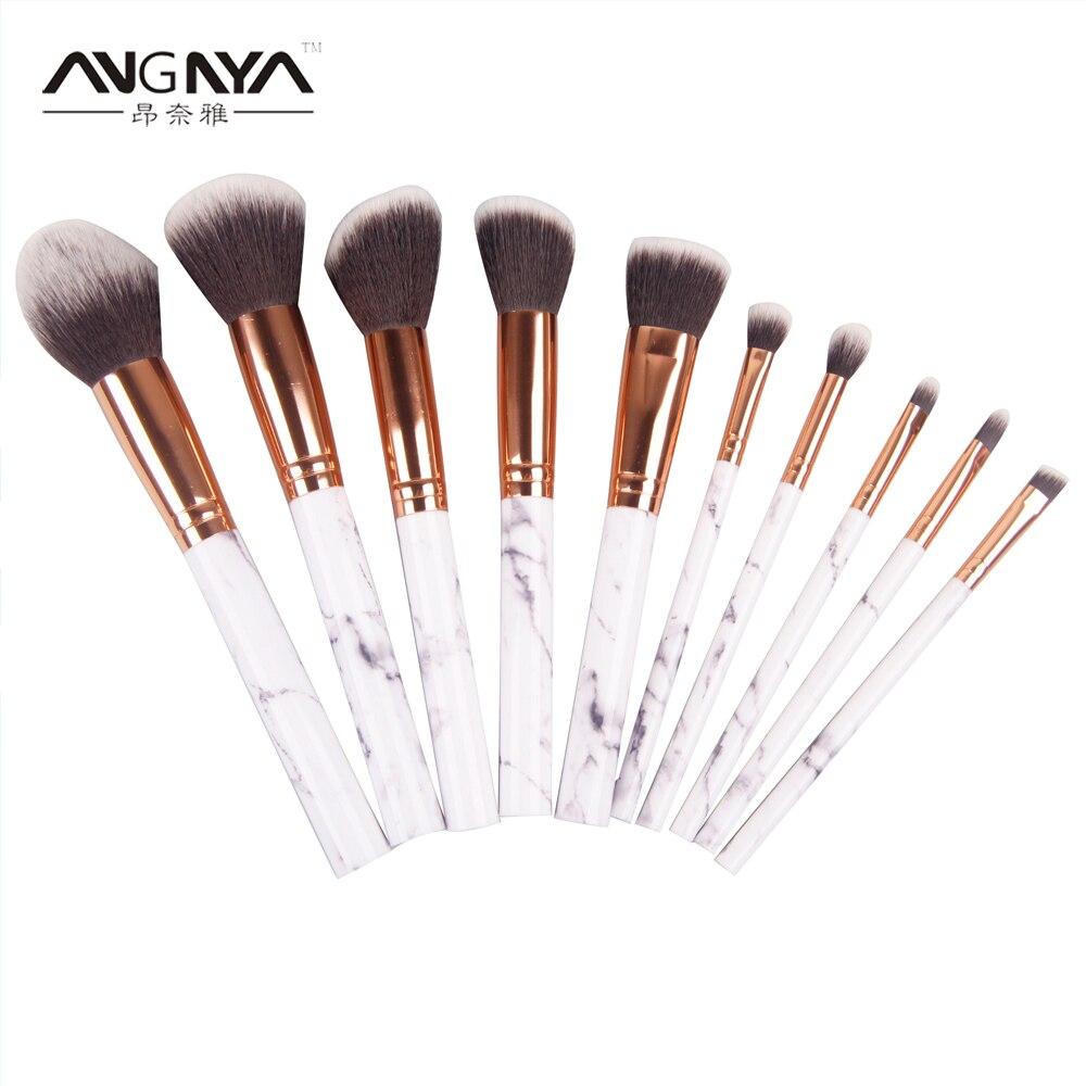 ANGNYA New 10PCs/Set Nylon Cosmetic Tool Makeup Brush Foundation Blending Makeup Tools China Style Acrylic Pattern Handle Brush tin nylon cosmetic foundation makeup brush set
