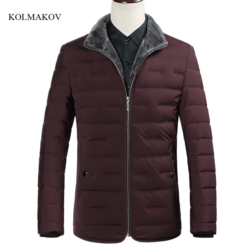 New arrival winter style men high-end boutique   down     coats   business casual turndown collar solid men's white duck   down     coat   M-3XL