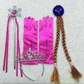 Rainha da neve Elsa Disfarce Princesa Elsa 4 pcs Acessórios Para o Cabelo das meninas Coroa Tiara Coroa Cosplay + Peruca + Varinha Mágica + luva Deguisement