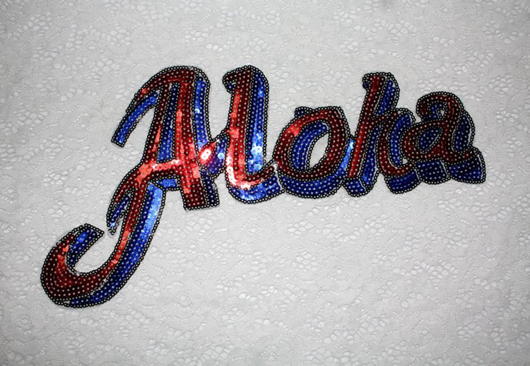 2 pieceslot english letters aloha sequins applique embroidery patch post sweater t shirt