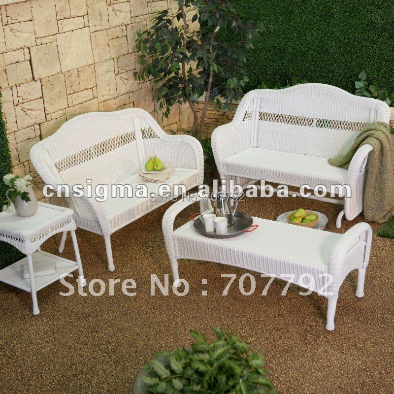 White Resin Wicker Chairs Swivel Chair Victoria Bc Outdoor Set Collection In Garden Sofas From