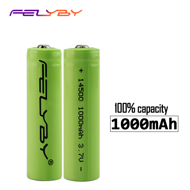 FELYBY 2-20pcs Original high quality AA 3.7V 14500 lithium ion Battery 1000mAh Li-ion Rechargeable Battery for flashlight ultrafire 14500 1200mah 3 7v rechargeable li ion battery blue 2 pcs