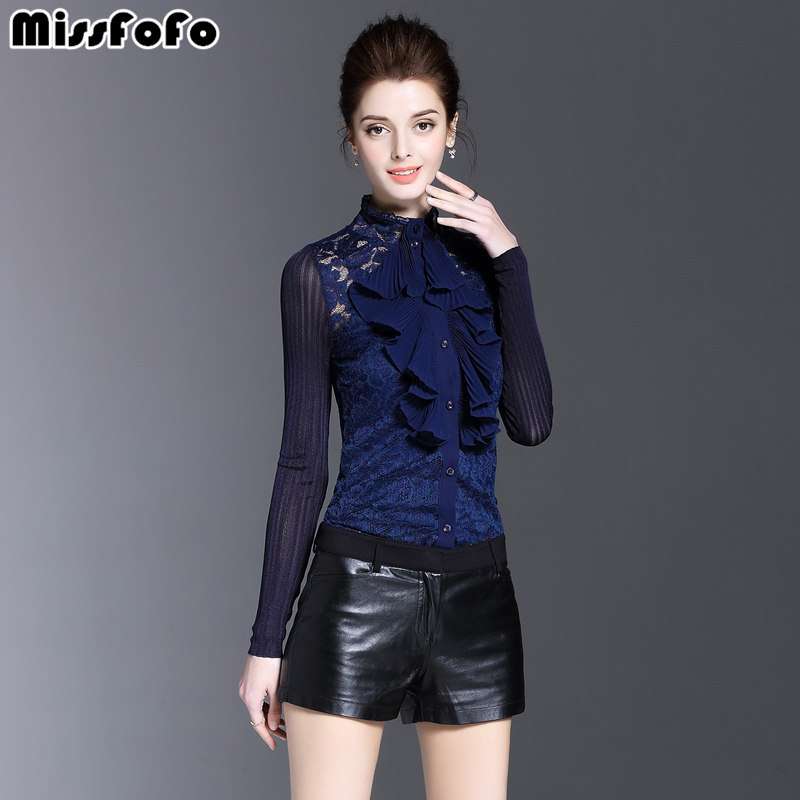 MissFoFo 2017 Autumu New Fashion Blouse Royal Lotus Lace Collar Chiffon Shirt Female Long Sleeve Spring Shirt Blue Size S-2XL