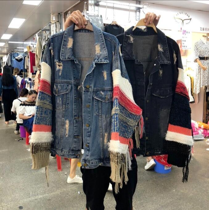 2019 printemps et automne nouveau trou lâche BF vent denim veste couture laine manches grande taille denim vêtements femmes