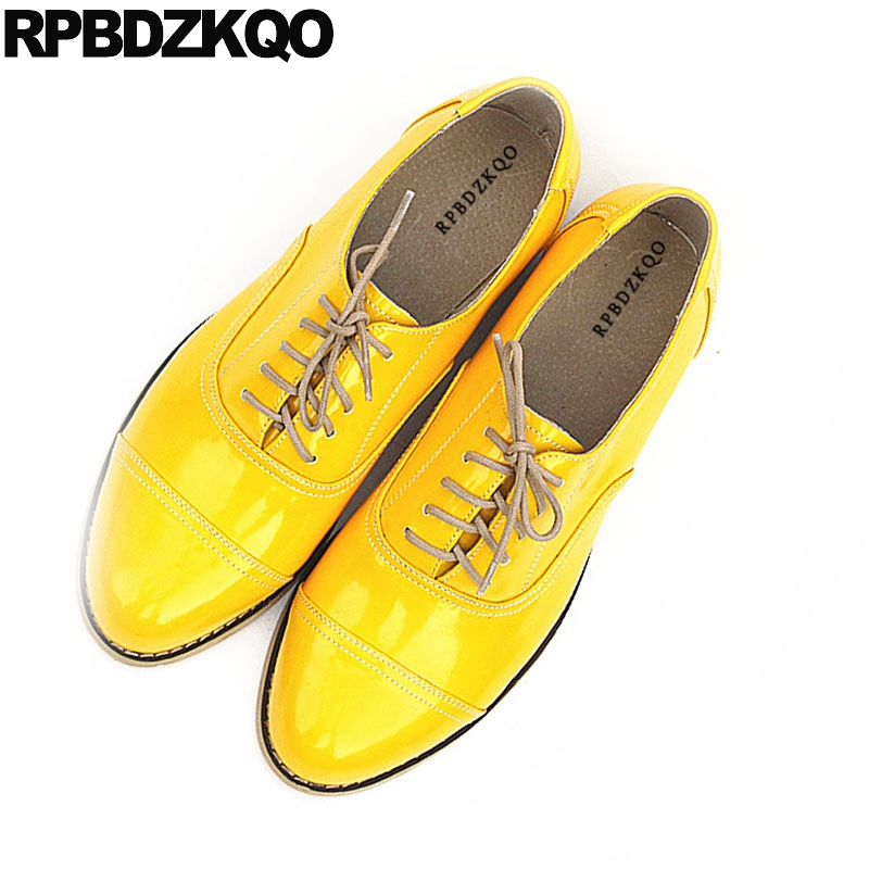Flats Oxfords-Shoes Lace-Up Japanese Yellow Vintage School Women Genuine Patent Size