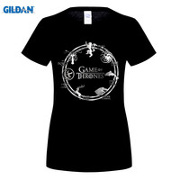 GILDAN Zomer Mode Tops Hot Game Of Thrones vrouwen T-shirts Herten Wolf Draak Print Animal Tees Casual Cool T-Shirt