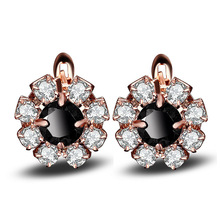Seanlov 2019 NEW Rose Gold Color Filled Flower Black White Crystal Hoop Earrings For Women Fashion Party Earring Luxury Jewelry