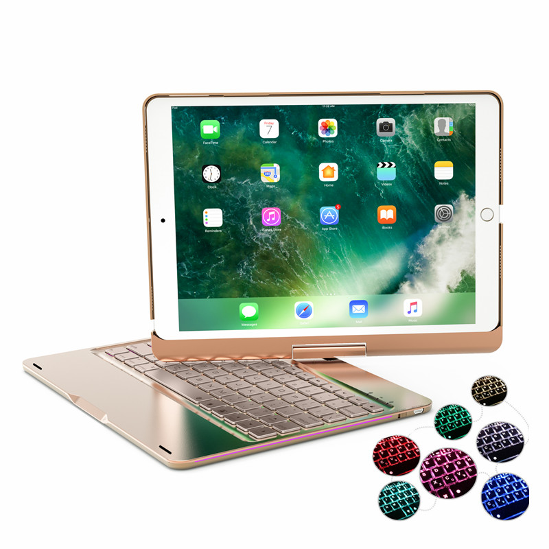 Luxury Case for iPad 9.7'' 7 Colors Backlit Light Wireless Bluetooth Keyboard Case Cover for iPad 5 / 6 / Air / Air 2 / Pro 9.7 aluminum keyboard cover case with 7 colors backlight backlit wireless bluetooth keyboard