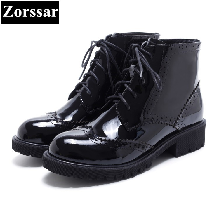 Фотография {Zorssar} 2018 NEW Fashion patent leather Women Boots High heels platform British style lace-up ankle Martin boots female shoes