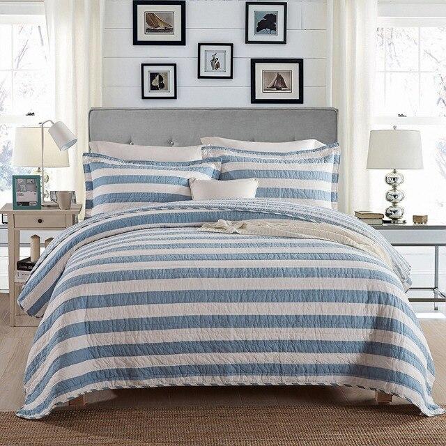 CHAUSUB Blue Stripe Quilt Set 1PCS/3PCS 100% Cotton Quilts Quilted Bedspread  Bed Cover