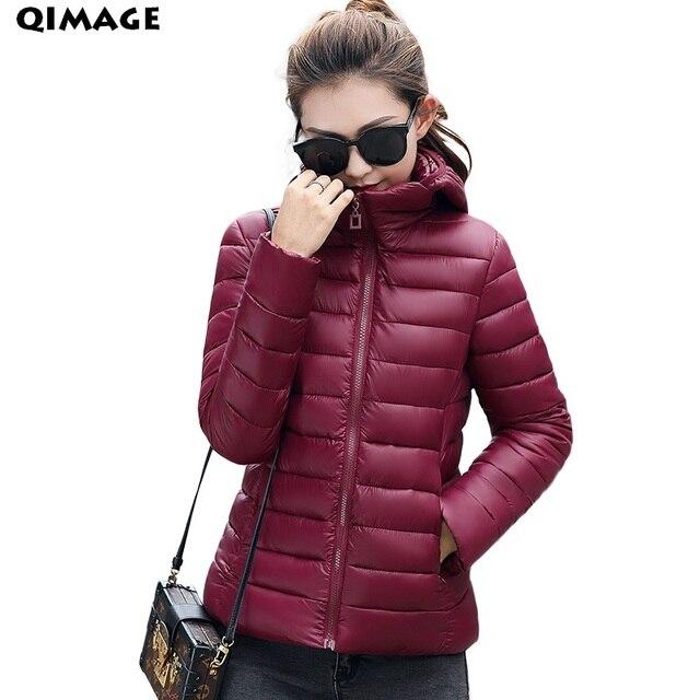 QIMAGEผู้หญิงขนาดบวกสั้นParkas 2017ใหม่อัลตร้าไฟฤดูหนาวลงเสื้อแจ็คเก็ตหญิงเบาะผ้าฝ้ายP Arkasพื้นฐานJacketsCoats