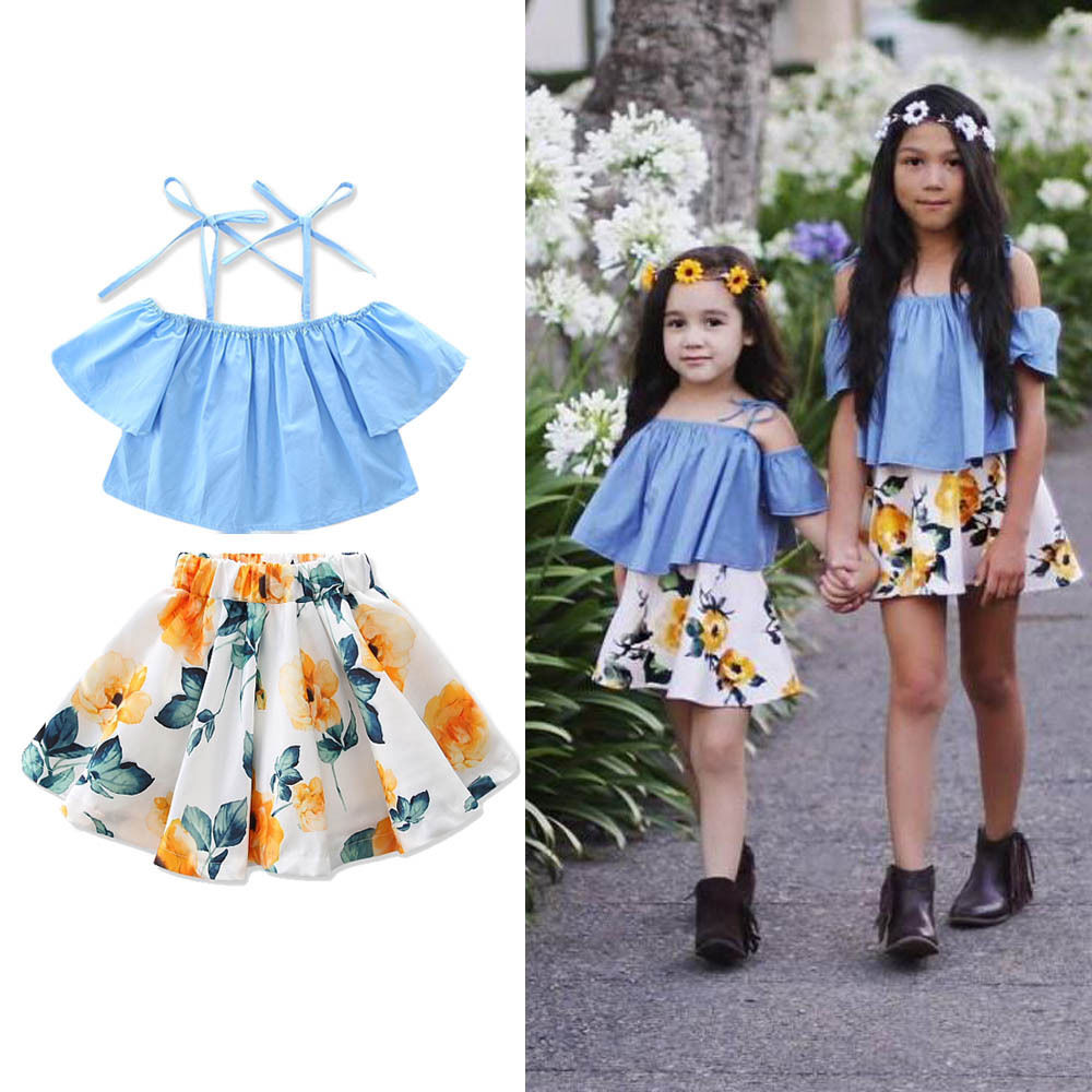 New Fashion Children Girls Clothes Off shoulder Flare Sleeve Denim T-shirt Tops+Floral Skirt 2PCS Outfits Kids Clothing Sundress 2017 new fashion kids clothes off shoulder camo crop tops hole jean denim pant 2pcs outfit summer suit children clothing set