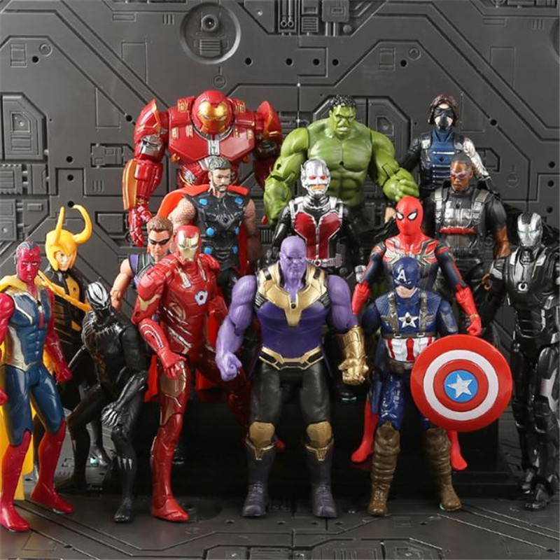 Anime The Avengers Iron Man Captain America Spiderman Doll Garage Kits Figurine Model Toys Cosplay Christmas Halloween For Men