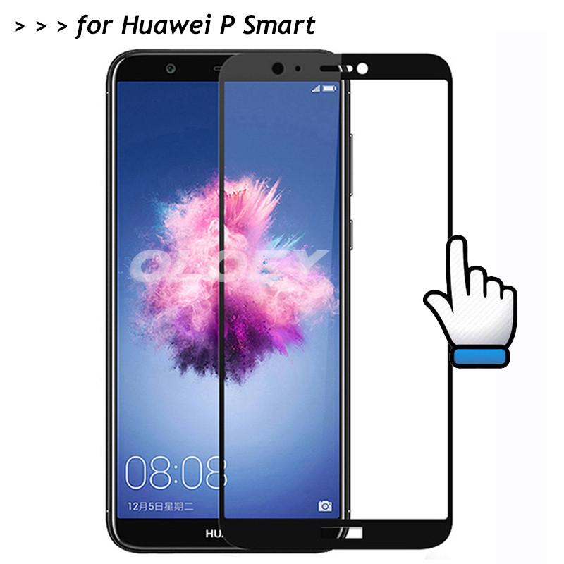 For Huawei P Smart Full Cover Tempered Glass 9H Screen Protector All Coverge Protective Film On FIG-L21 FIG-LX1 PSmart FIG-AL00