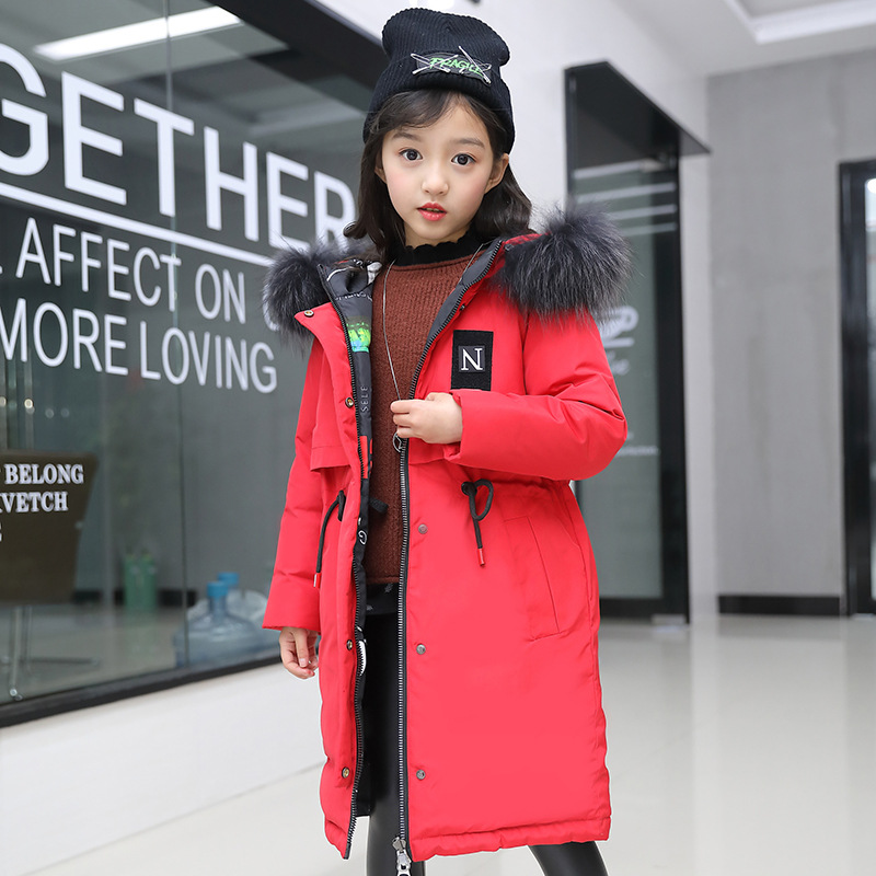 Winter Jacket for Girls Fur Hooded Russian Girls Winter Coat 2018 Children Jacket Down Cotton Parkas Outerwear Long Teen Clothes fashion long parka kids long parkas for girls fur hooded coat winter warm down jacket children outerwear infants thick overcoat