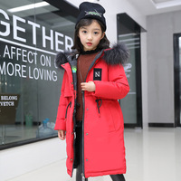 Winter Jacket for Girls Fur Hooded Russian Girls Winter Coat 2018 Children Jacket Down Cotton Parkas Outerwear Long Teen Clothes