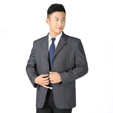 WAEOLSA Men Leisure Blazer Khaki Gray Plaid Suit Jackets Mature Man Small Check Pattern Blazers Male Father Garment 50S 60S