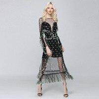 Summer Dress 2017 Womens Ruffles Mesh Sexy Vintage Elegant Backless Beach Women Club Party Dress Ladies