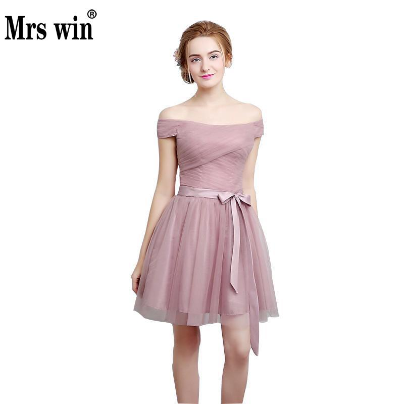 bride maid dresses bridesmaids short gown light pink sweet gowns ...