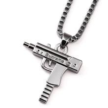 Nueva 2016 Caja de La Cadena de Oro Colgante de Pistola Metralleta uzi Chapado En Oro Colgante Collar Maxi Hombres/mujeres Hip Hop joyería