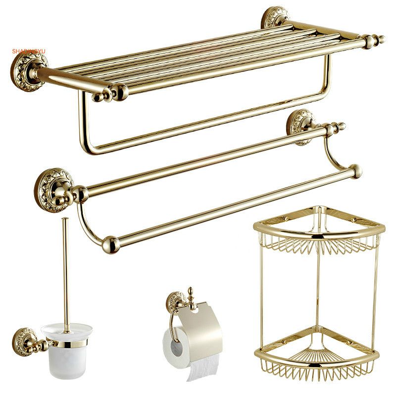 Solid Brass Bathroom Hardware Sets Gold Polished Toothbrush Holder Wall Mounted Carved Towel Bar Bathroom Accessories image