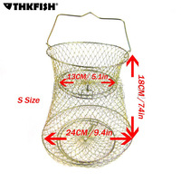 Metal Foldable Crabs Fish Keeper Cages Traps S size Big Bronze Tone Fishing Keep Net Collapsible Cage Fishing Tools
