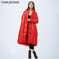 CNMUDONSI New Fashion Oversize Large Size Loose Winter Jacket 2018 Female's Warm Batwing Sleeve Long Coat Jaqueta Feminina