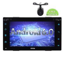 Free camera + Android6.0 Double 2Din Car DVD Player with GPS Navigation Autoradio Bluetooth FM Radio Wifi Mirror Link USB/SD OBD
