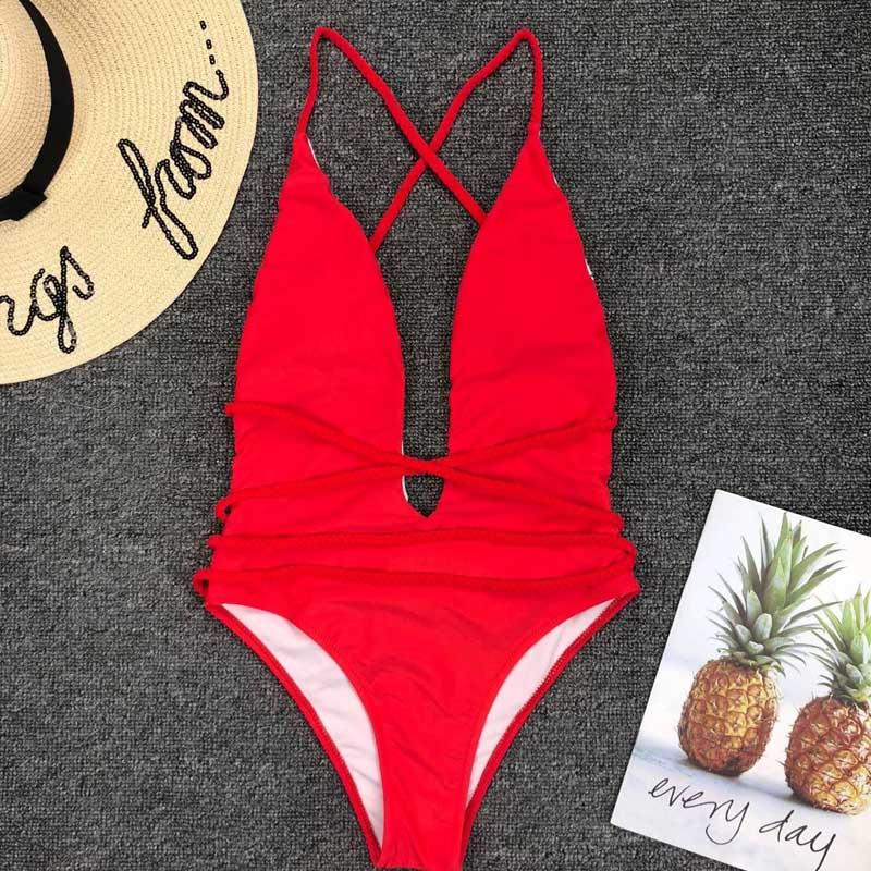 Halter Neon Deep V Swimsuit Women Monokini String Bathing suit Sexy Push Up Swimwear one piece Bodysuits High cut Bikini Women