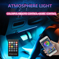 EL Neon Wire Strip Light 6 In 1 Car Interior LED APP Control +Remote control RGB cold light Atmosphere Decoration Light