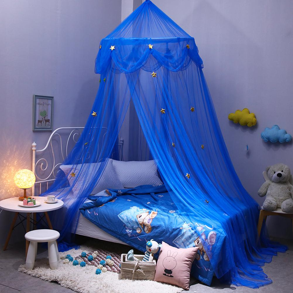 Blue Fantasy Star Hanging Lace Dome Mosquito Net Canopy European Round Mosquito Nets for Children's Bedroom Bedding Curtains