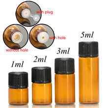 100 個 1 ミリリットル 2 ミリリットル 3 ミリリットル 5 ミリリットル drams アンバープラスチック蓋挿入エッセンシャルオイルガラスバイアル香水サンプル試験瓶