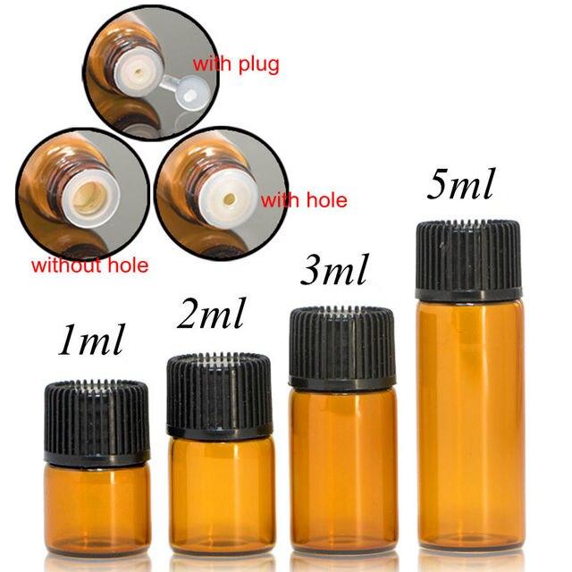 100pcs 1ml 2ml 3ml 5ml Drams Amber Glass Bottle With Plastic Lid Insert Essential Oil Glass Vials Perfume Sample Test Bottle