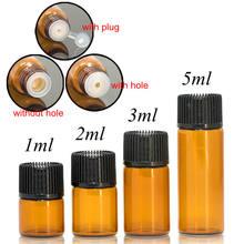Frasco de vidro âmbar para drams, frasco de vidro âmbar com tampa de plástico, óleo essencial para inserção, 1ml/2ml/5ml, 100 peças frascos de vidro perfume garrafa de teste da amostra